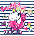 beautiful unicorn girl with pink hair vector image vector image