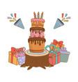 birthday party festive cartoon vector image vector image