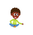 black african american boy sitting on the floor vector image vector image