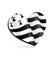 black and white 3d heart shape with flag of vector image
