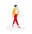 business woman walking on street with phone vector image vector image