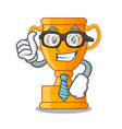 businessman cartoon trophy cup with star on cyan vector image
