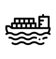 cargo ship at sea icon outline vector image
