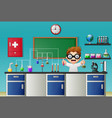 cartoon boy doing chemical experiment in the labor vector image vector image