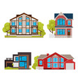 cartoon color residential home buildings icon set vector image vector image
