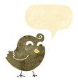 cartoon funny bird with speech bubble vector image vector image
