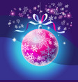 christmas bright ball with snowflakes vector image vector image