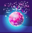 christmas bright christmas ball with snowflakes vector image vector image