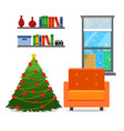 christmas room interior christmas tree wih vector image vector image