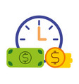 clock banknote and coin business vector image