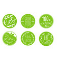collection of green circle label with hand-drawn vector image