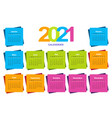 color calendar on 2021 year with a square shape vector image vector image