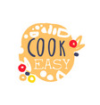 colorful handmade logo template for cooking food vector image vector image