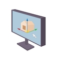 Computer monitor with architecture program icon vector image