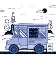 concept street food festival purple food truck vector image