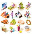 cozy winter isometric icons vector image vector image