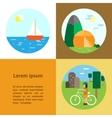 Eco-tourism Camping cycling sailing vector image vector image