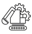 excavator line icon sign on vector image vector image