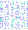 Fitness seamless pattern with thin line icons