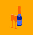 flat on background of champagne bottle and glasses vector image vector image