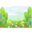 floral border and spring landscape vector image