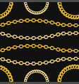 golden chains jewelry seamless pattern on black vector image