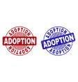 grunge adoption scratched round stamp seals vector image vector image