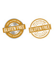 grunge stamp and silver label gluten free vector image vector image