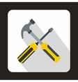 Hammer and screwdriver icon flat style vector image