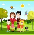 happy family on field with pets animals flat vector image