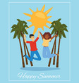joyful couple lettering happy summer on poster vector image vector image