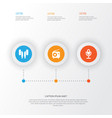 multimedia icons set collection of tuner earmuff vector image vector image