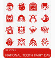 national tooth fairy day icon set vector image vector image