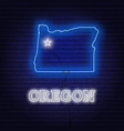 neon map state oregon on a brick wall vector image