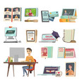 online education orthogonal icons vector image