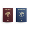 passport with map africa realistic vector image vector image