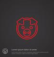 Pig outline symbol red on dark background logo vector image