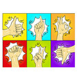 pop art hands gestures vector image vector image