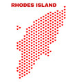rhodes island map - mosaic of lovely hearts vector image vector image