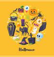 round composition of halloween symbols vector image vector image