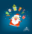 santa claus with boxes of gifts vector image vector image