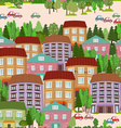 seamless texture with cute houses vector image vector image