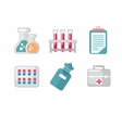 set flat science icons vector image vector image