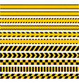 set stripes yellow caution warning tape vector image