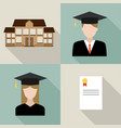 set university students graduation vector image vector image