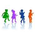 Silhouettes of little boy and girls vector image vector image