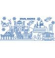 spain madrid winter city skyline merry christmas vector image vector image