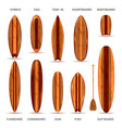 wooden surfboards realistic set vector image vector image