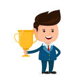 young happy smiling businessman with gold trophy vector image vector image