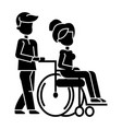 young man strolling with woman in wheelchair vector image